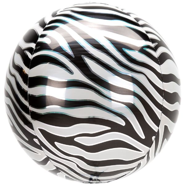 Animalz Zebra Print Round Orbz 15in Balloon